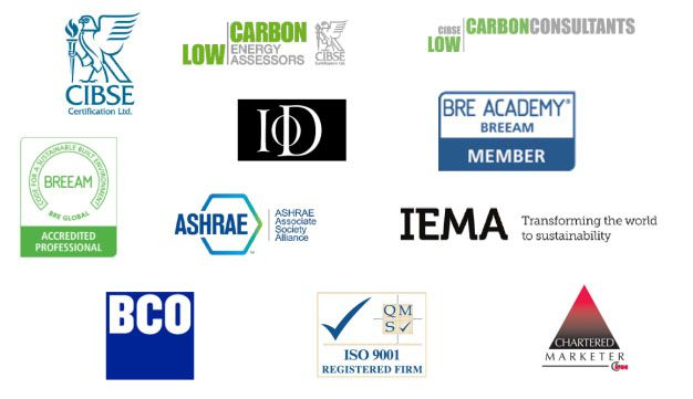 Montage of our accreditations, including BREEAM